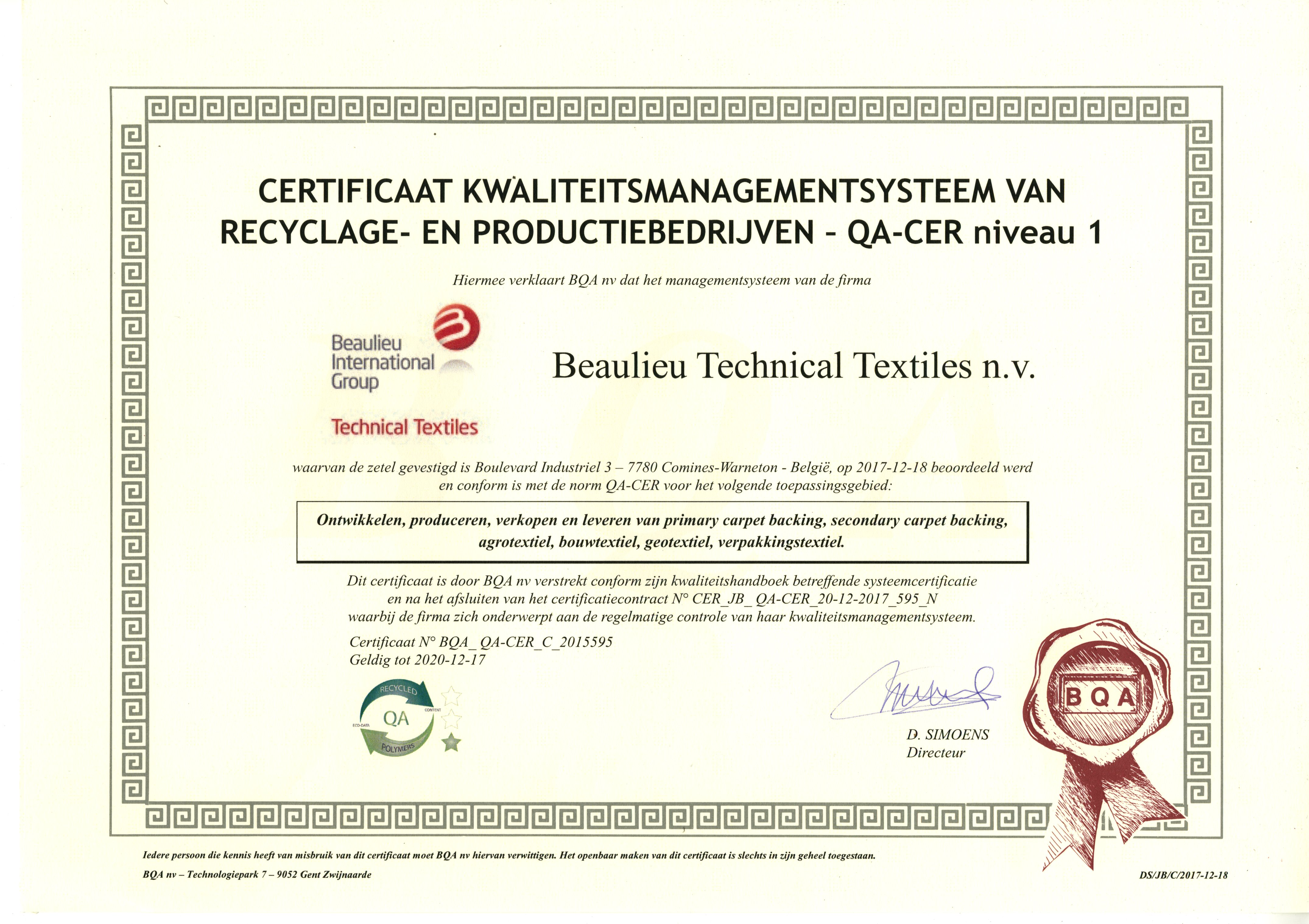 Renewed Qa Cer Certificate On Polymer Recycling